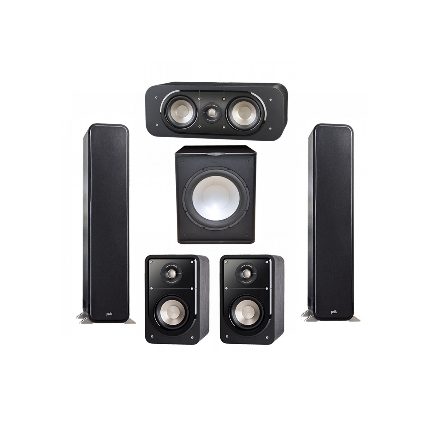 Polk Audio Signature 5.1 System with 2 S55 Tower Speaker, 1 Polk S30 Center Speaker, 2 Polk S15 Bookshelf Speaker, 1 Premier Acoustic PA-150 Powered Subwoofer