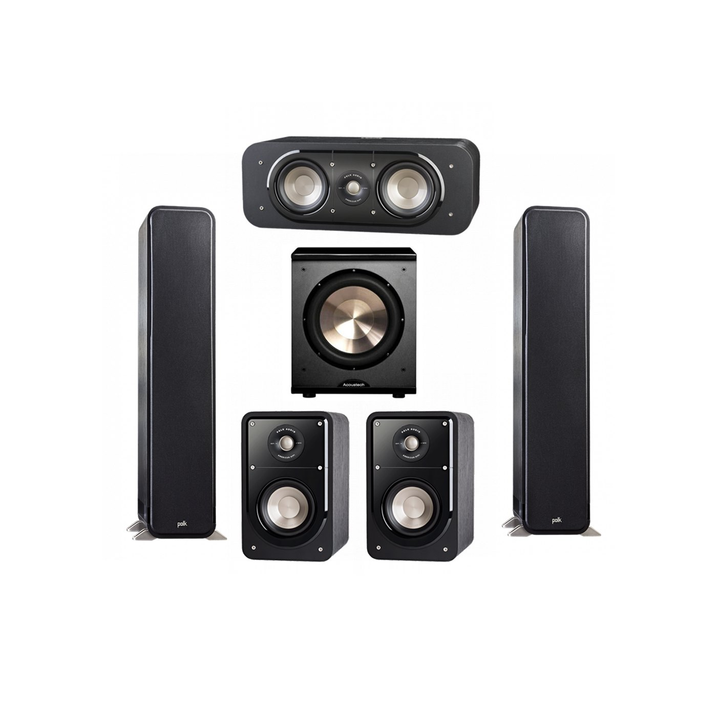 Polk Audio Signature 5.1 System with 2 S55 Tower Speaker, 1 Polk S30 Center Speaker, 2 Polk S15 Bookshelf Speaker, 1 BIC/Acoustech Platinum Series PL-200 Subwoofer