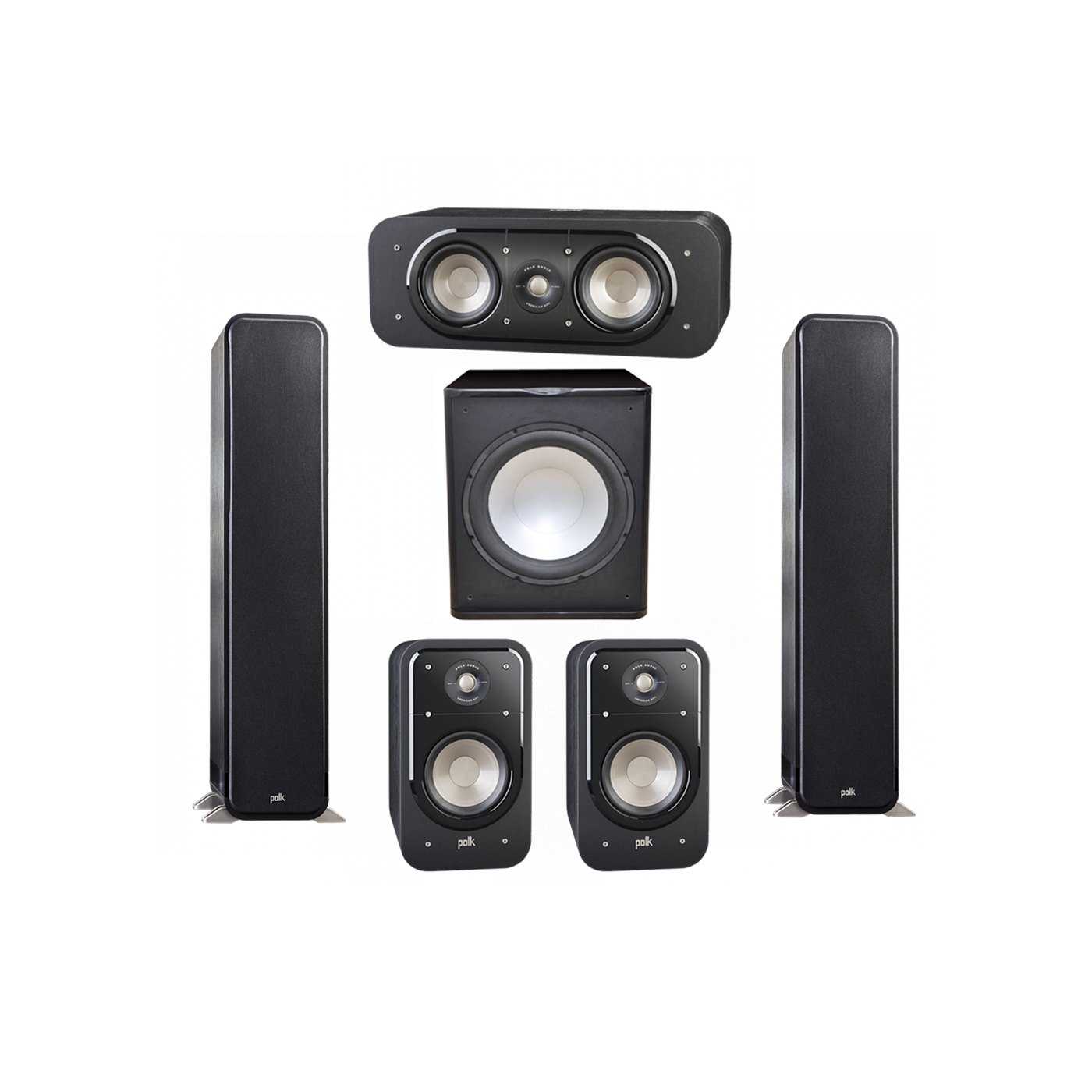 Polk Audio Signature 5.1 System with 2 S55 Tower Speaker, 1 Polk S30 Center Speaker, 2 Polk S20 Bookshelf Speaker, 1 Premier Acoustic PA-150 Powered Subwoofer