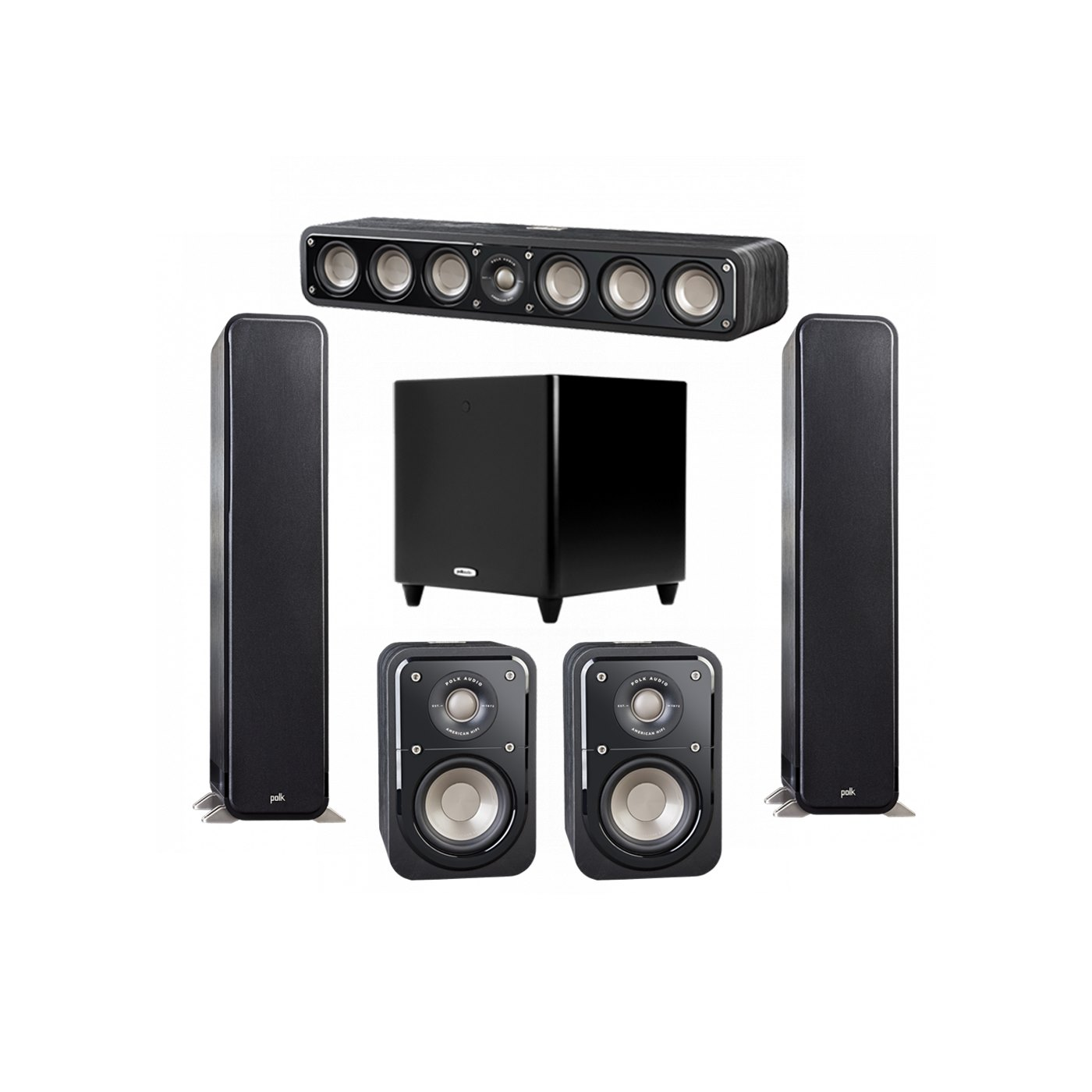 Polk Audio Signature 5.1 System with 2 S55 Tower Speaker, 1 Polk S35 Center Speaker, 2 Polk S10 Surround Speaker, 1 Polk DSW PRO 550 wi Subwoofer
