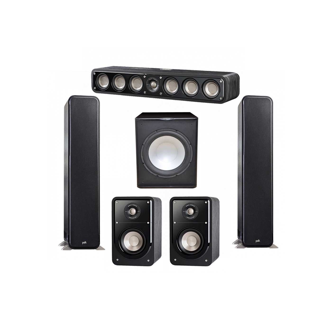 Polk Audio Signature 5.1 System with 2 S55 Tower Speaker, 1 Polk S35 Center Speaker, 2 Polk S15 Bookshelf Speaker, 1 Premier Acoustic PA-150 Powered Subwoofer