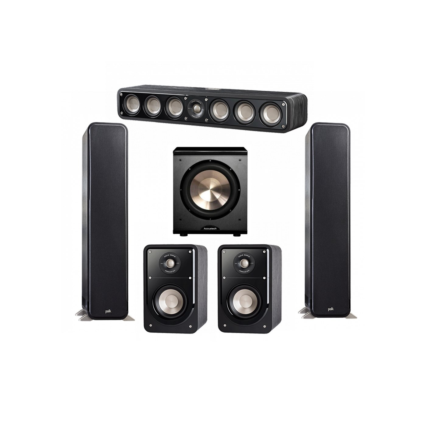 Polk Audio Signature 5.1 System with 2 S55 Tower Speaker, 1 Polk S35 Center Speaker, 2 Polk S15 Bookshelf Speaker, 1 BIC/Acoustech Platinum Series PL-200 Subwoofer