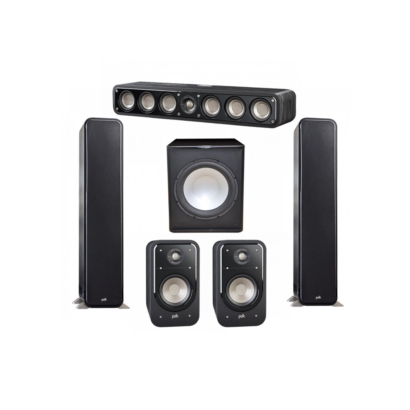 Polk Audio Signature 5.1 System with 2 S55 Tower Speaker, 1 Polk S35 Center Speaker, 2 Polk S20 Bookshelf Speaker, 1 Premier Acoustic PA-150 Powered Subwoofer