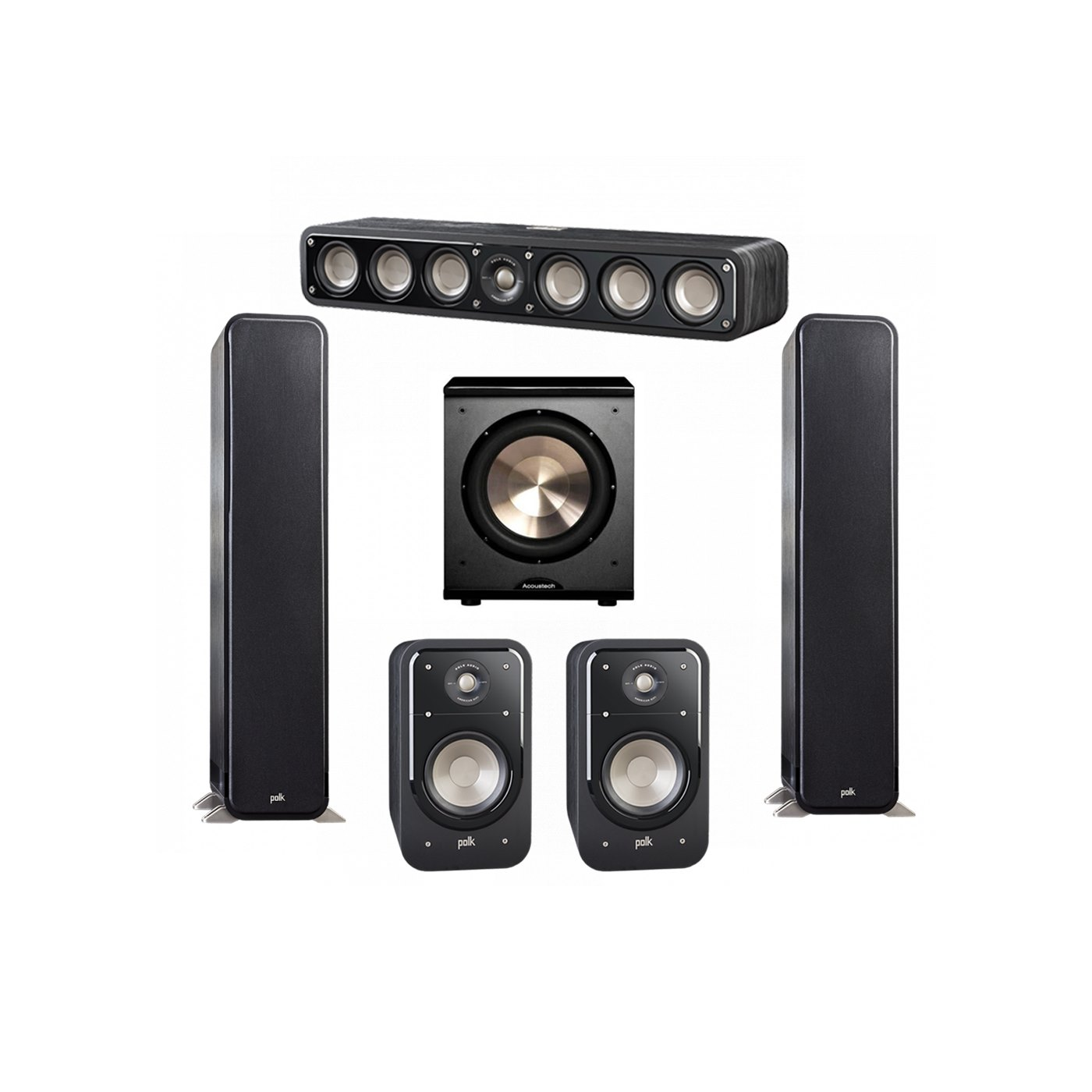 Polk Audio Signature 5.1 System with 2 S55 Tower Speaker, 1 Polk S35 Center Speaker, 2 Polk S20 Bookshelf Speaker, 1 BIC/Acoustech Platinum Series PL-200 Subwoofer