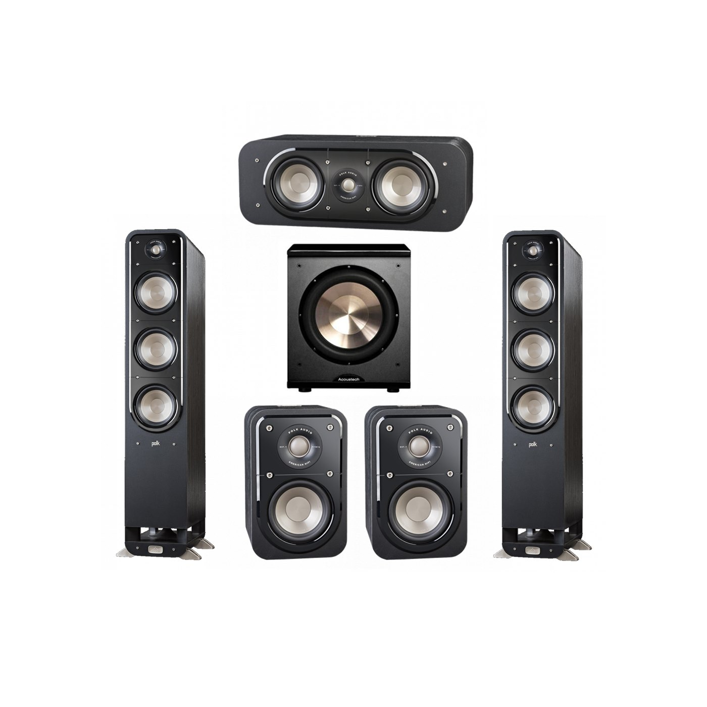 Polk Audio Signature 5.1 System with 2 S60 Tower Speaker, 1 Polk S30 Center Speaker, 2 Polk S10 Surround Speaker, 1 BIC/Acoustech Platinum Series PL-200 Subwoofer