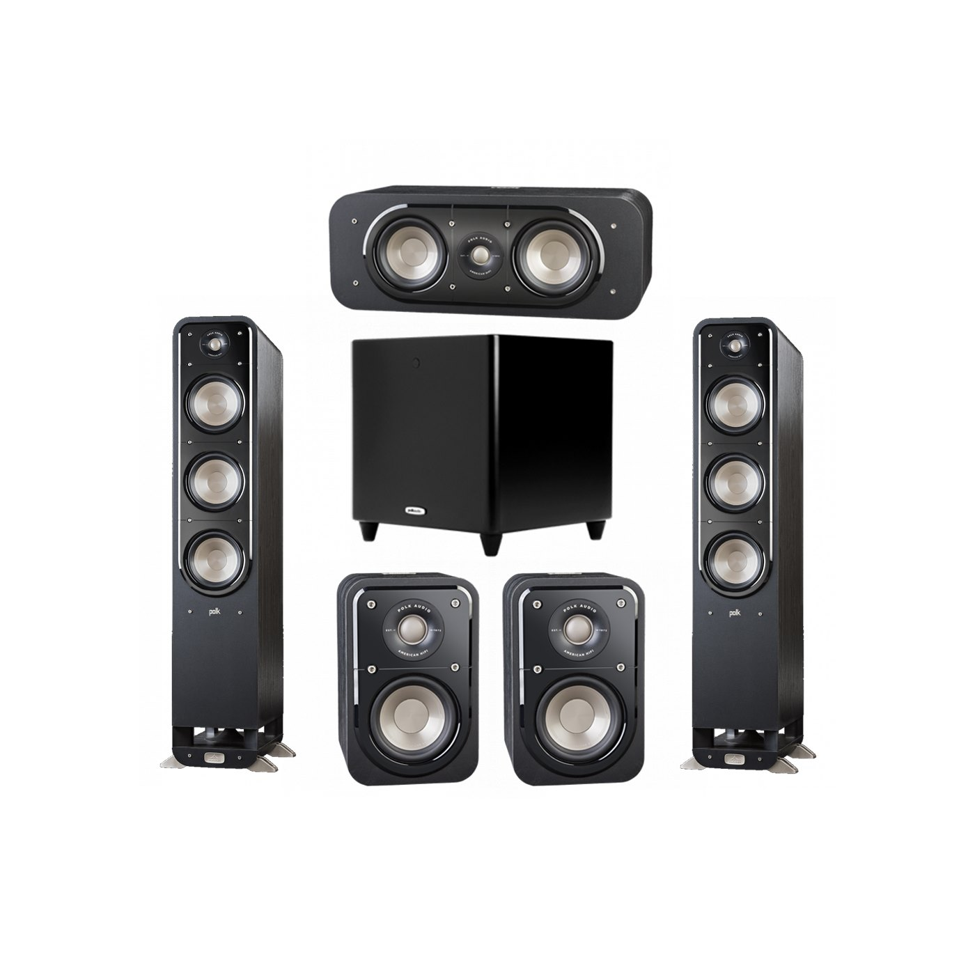 Polk Audio Signature 5.1 System with 2 S60 Tower Speaker, 1 Polk S30 Center Speaker, 2 Polk S10 Surround Speaker, 1 Polk DSW PRO 550 wi Subwoofer