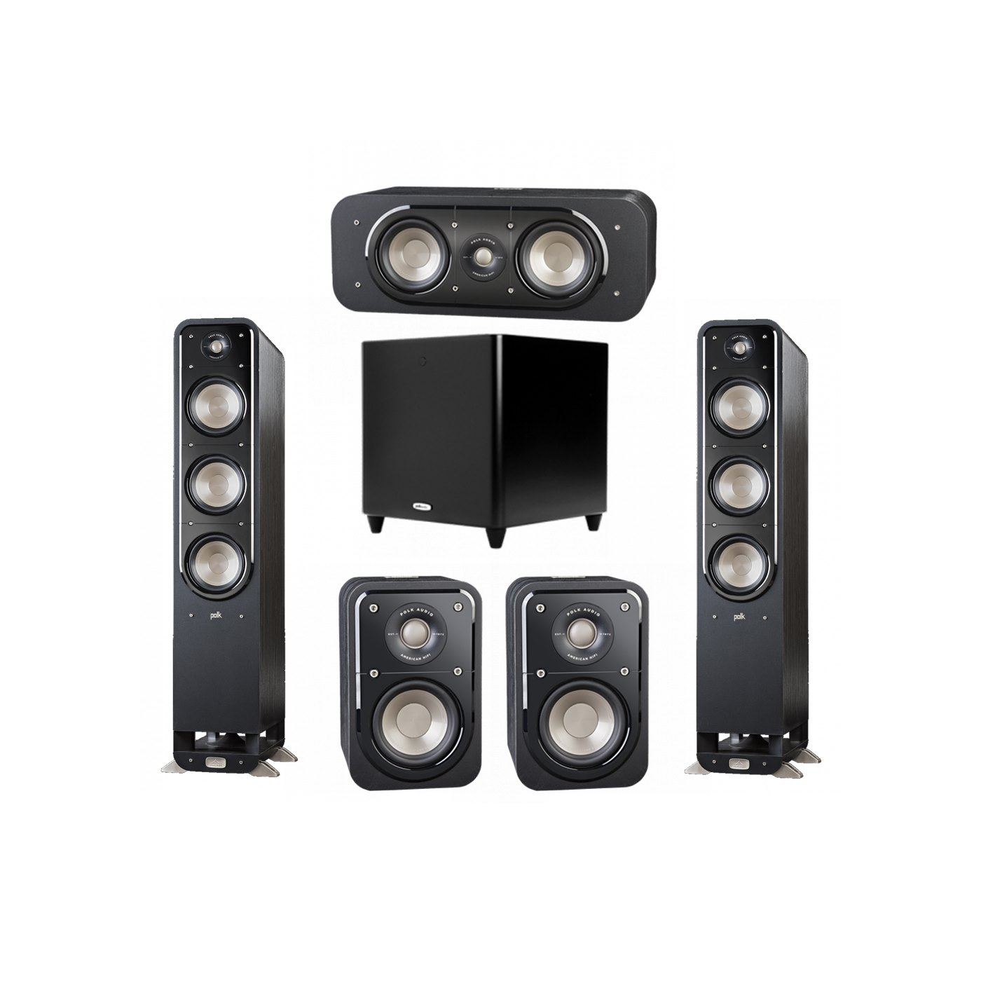 Polk Audio Signature 5.1 System with 2 S60 Tower Speaker, 1 Polk S30 Center Speaker, 2 Polk S10 Surround Speaker, 1 Polk DSW PRO 660 wi Subwoofer