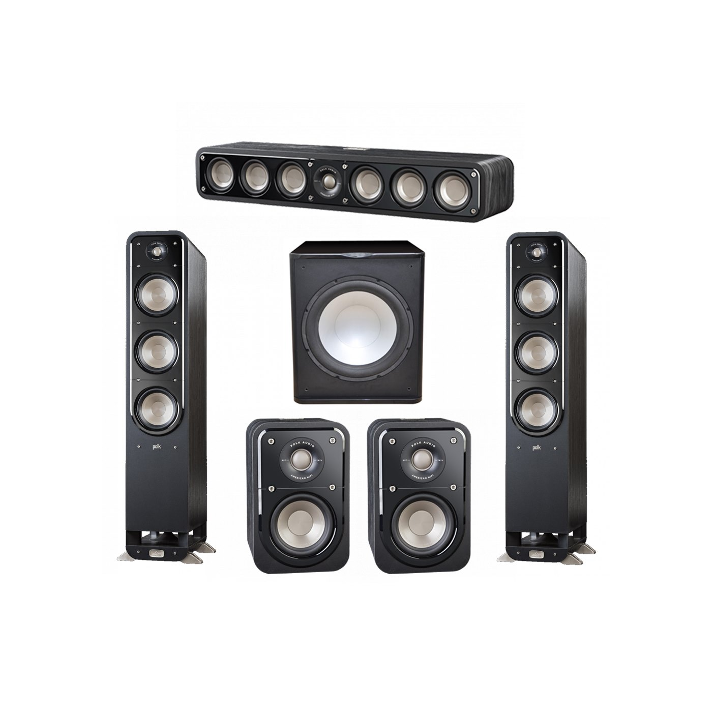 Polk Audio Signature 5.1 System with 2 S60 Tower Speaker, 1 Polk S35 Center Speaker, 2 Polk S10 Surround Speaker, 1 Premier Acoustic PA-150 Powered Subwoofer