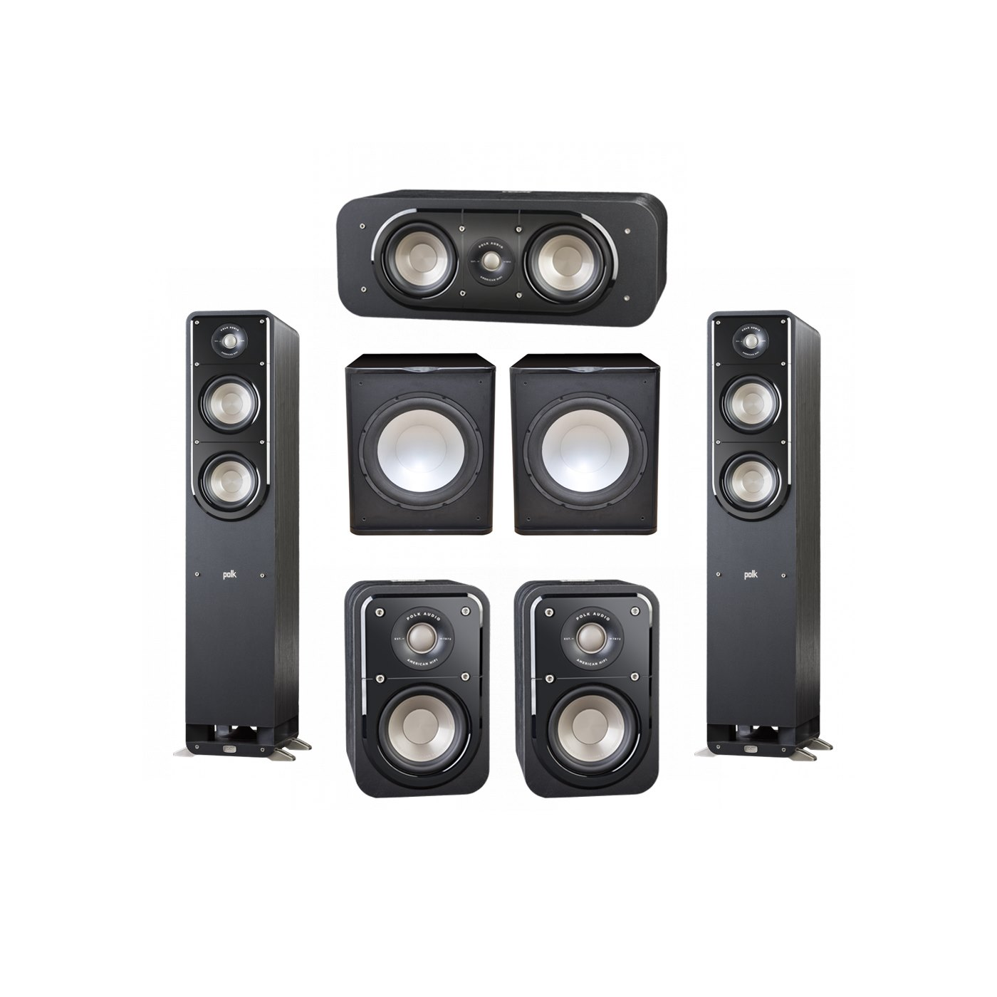 Polk Audio Signature 5.2 System with 2 S50 Tower Speaker, 1 Polk S30 Center Speaker, 2 Polk S10 Surround Speaker, 2 Premier Acoustic PA-150 Powered Subwoofer
