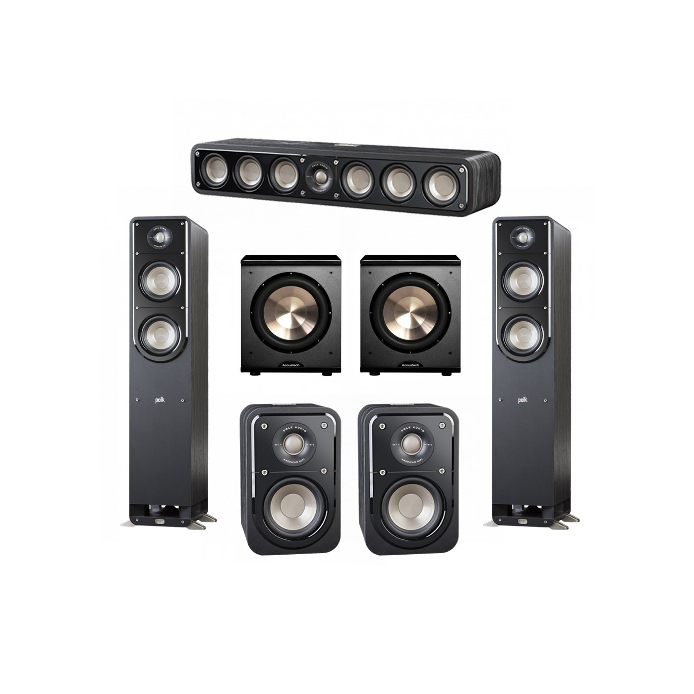 Polk Audio Signature 5.2 System with 2 S50 Tower Speaker, 1 Polk S30 Center Speaker, 2 Polk S10 Surround Speaker, 2 BIC/Acoustech Platinum Series PL-200 Subwoofer
