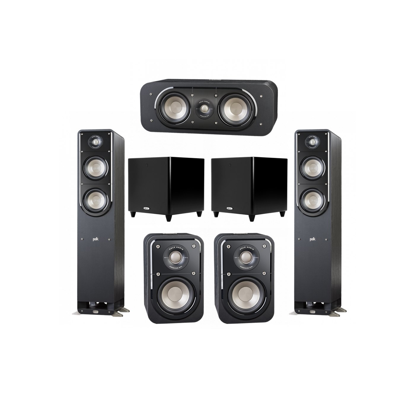 Polk Audio Signature 5.2 System with 2 S50 Tower Speaker, 1 Polk S30 Center Speaker, 2 Polk S10 Surround Speaker, 2 Polk DSW PRO 550 wi Subwoofer
