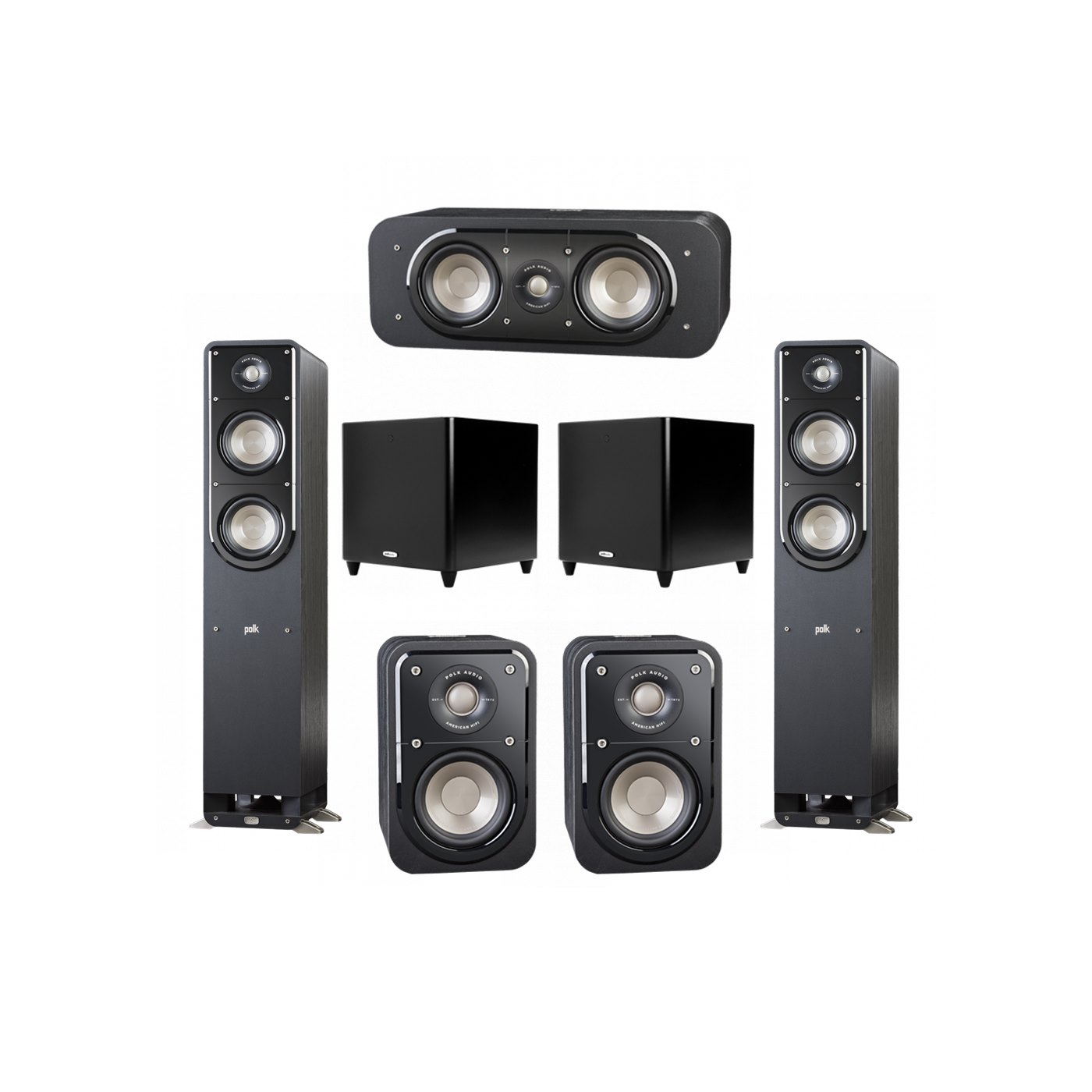 Polk Audio Signature 5.2 System with 2 S50 Tower Speaker, 1 Polk S30 Center Speaker, 2 Polk S10 Surround Speaker, 2 Polk DSW PRO 660 wi Subwoofer