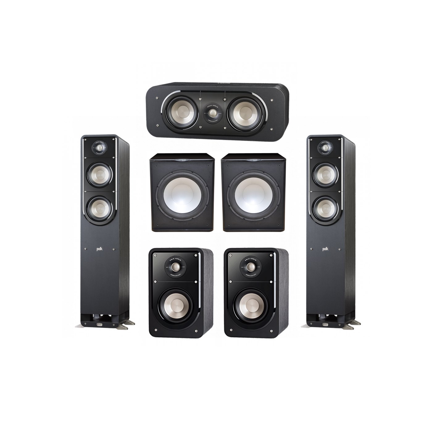 Polk Audio Signature 5.2 System with 2 S50 Tower Speaker, 1 Polk S30 Center Speaker, 2 Polk S15 Bookshelf Speaker, 2 Premier Acoustic PA-150 Powered Subwoofer