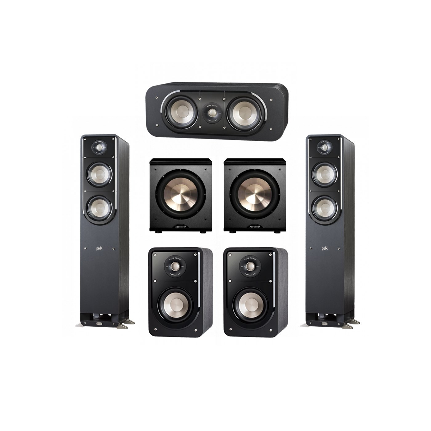 Polk Audio Signature 5.2 System with 2 S50 Tower Speaker, 1 Polk S30 Center Speaker, 2 Polk S15 Bookshelf Speaker, 2 BIC/Acoustech Platinum Series PL-200 Subwoofer