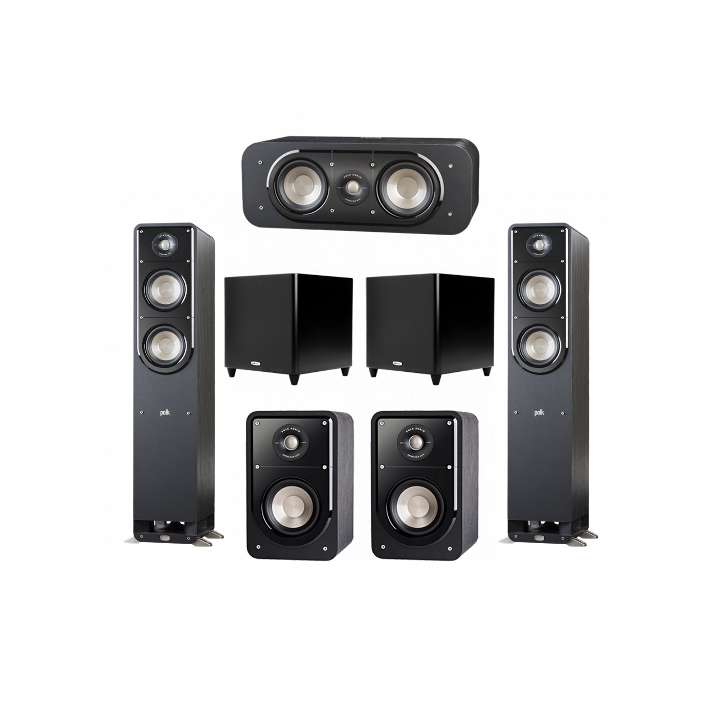 Polk Audio Signature 5.2 System with 2 S50 Tower Speaker, 1 Polk S30 Center Speaker, 2 Polk S15 Bookshelf Speaker, 2 Polk DSW PRO 660 wi Subwoofer