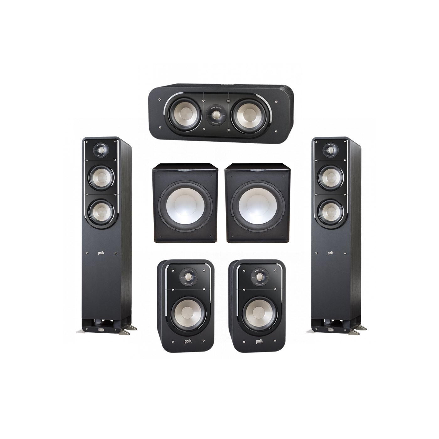 Polk Audio Signature 5.2 System with 2 S50 Tower Speaker, 1 Polk S30 Center Speaker, 2 Polk S20 Bookshelf Speaker, 2 Premier Acoustic PA-150 Powered Subwoofer