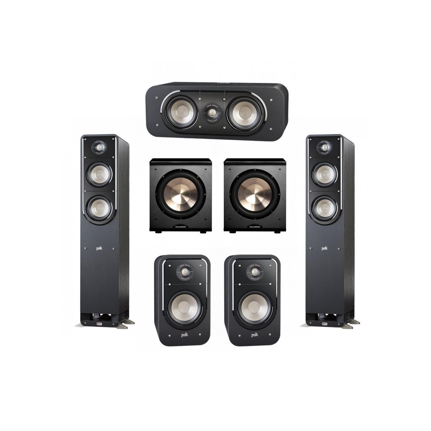 Polk Audio Signature 5.2 System with 2 S50 Tower Speaker, 1 Polk S30 Center Speaker, 2 Polk S20 Bookshelf Speaker, 2 BIC/Acoustech Platinum Series PL-200 Subwoofer