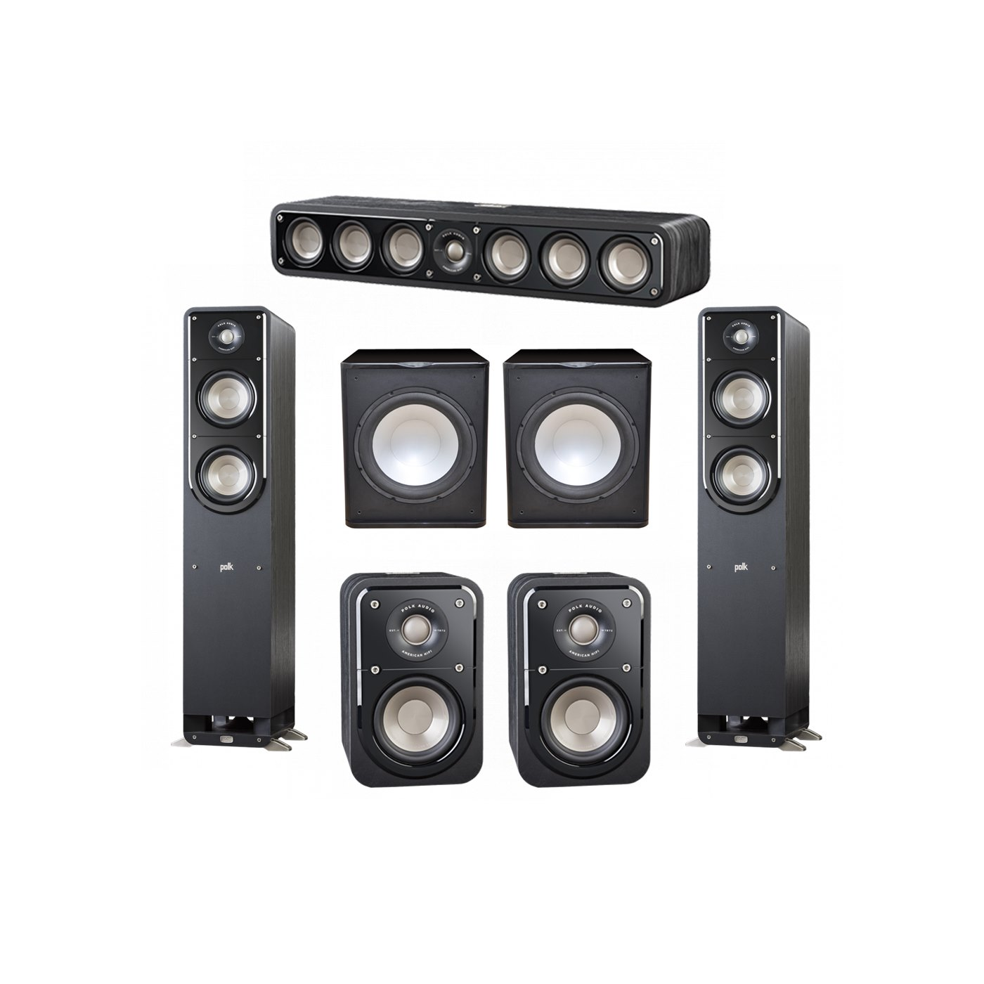 Polk Audio Signature 5.2 System with 2 S50 Tower Speaker, 1 Polk S35 Center Speaker, 2 Polk S10 Surround Speaker, 2 Premier Acoustic PA-150 Powered Subwoofer