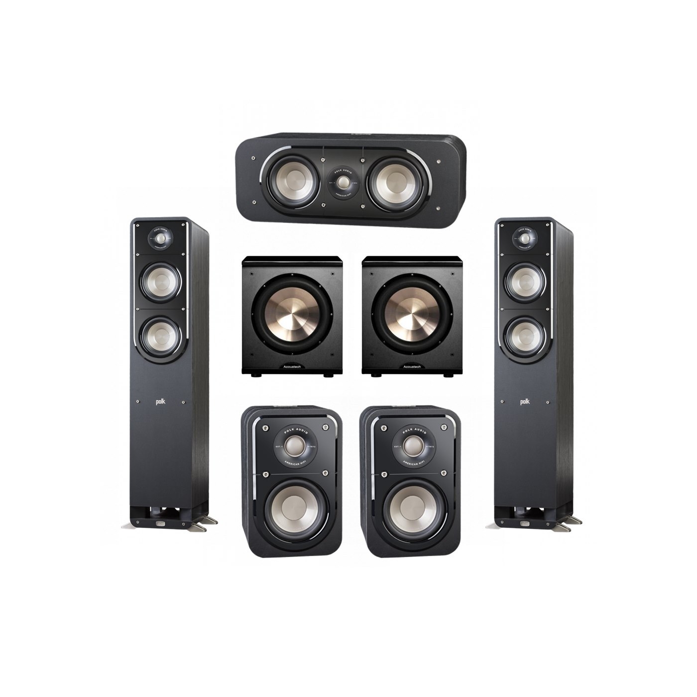 Polk Audio Signature 5.2 System with 2 S50 Tower Speaker, 1 Polk S35 Center Speaker, 2 Polk S10 Surround Speaker, 2 BIC/Acoustech Platinum Series PL-200 Subwoofer