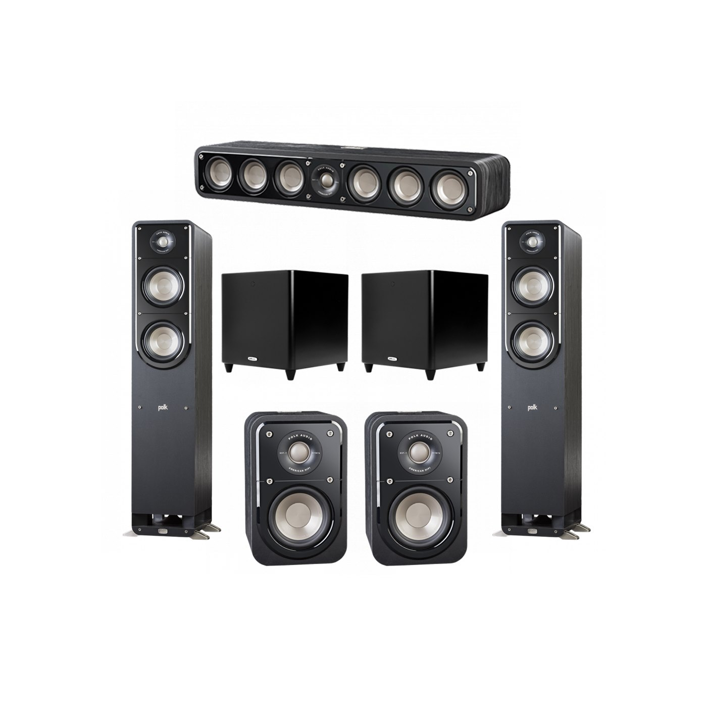 Polk Audio Signature 5.2 System with 2 S50 Tower Speaker, 1 Polk S35 Center Speaker, 2 Polk S10 Surround Speaker, 2 Polk DSW PRO 660 wi Subwoofer