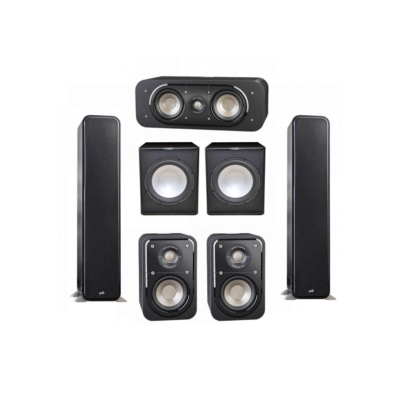 Polk Audio Signature 5.2 System with 2 S55 Tower Speaker, 1 Polk S30 Center Speaker, 2 Polk S10 Surround Speaker, 2 Premier Acoustic PA-150 Powered Subwoofer