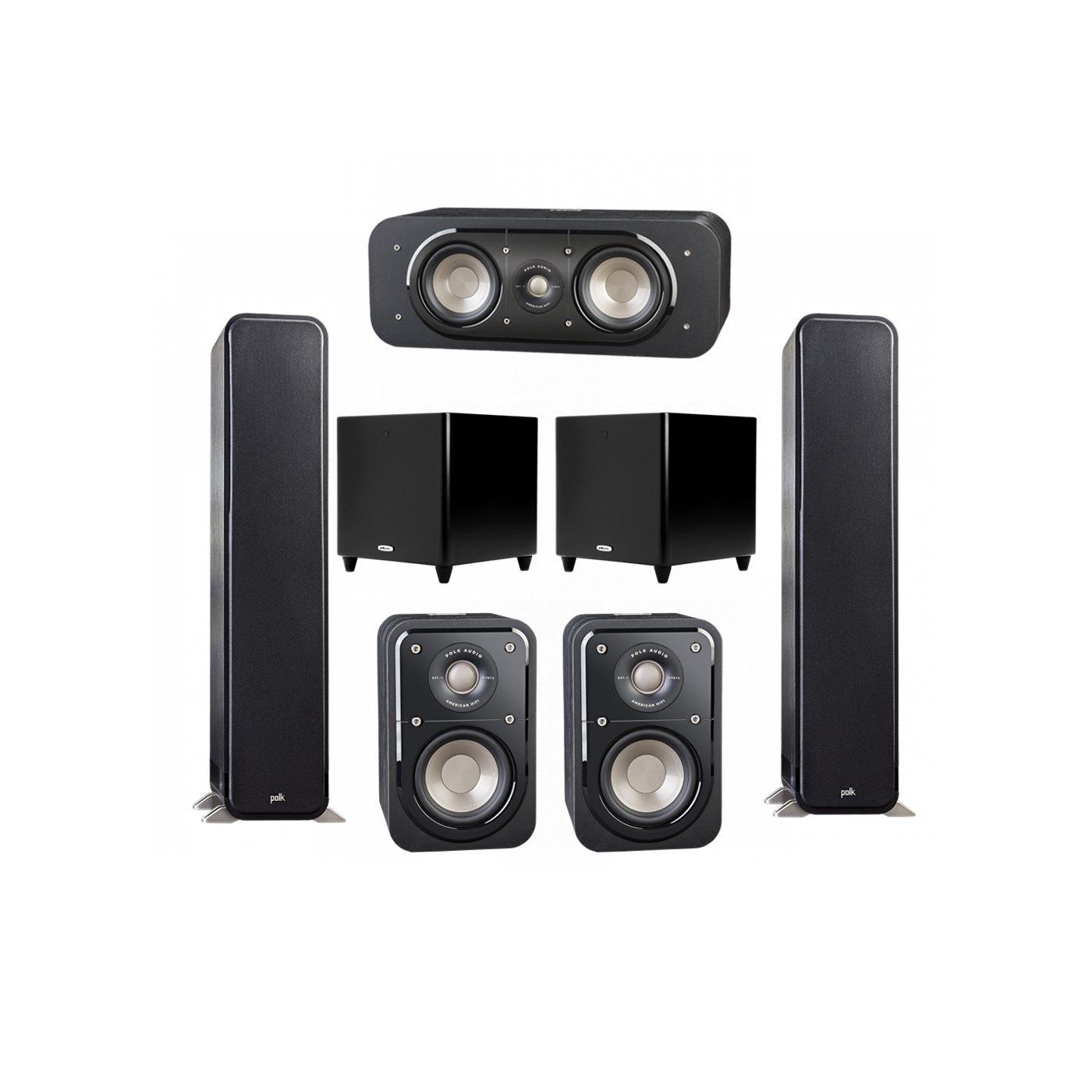 Polk Audio Signature 5.2 System with 2 S55 Tower Speaker, 1 Polk S30 Center Speaker, 2 Polk S10 Surround Speaker, 2 Polk DSW PRO 550 wi Subwoofer
