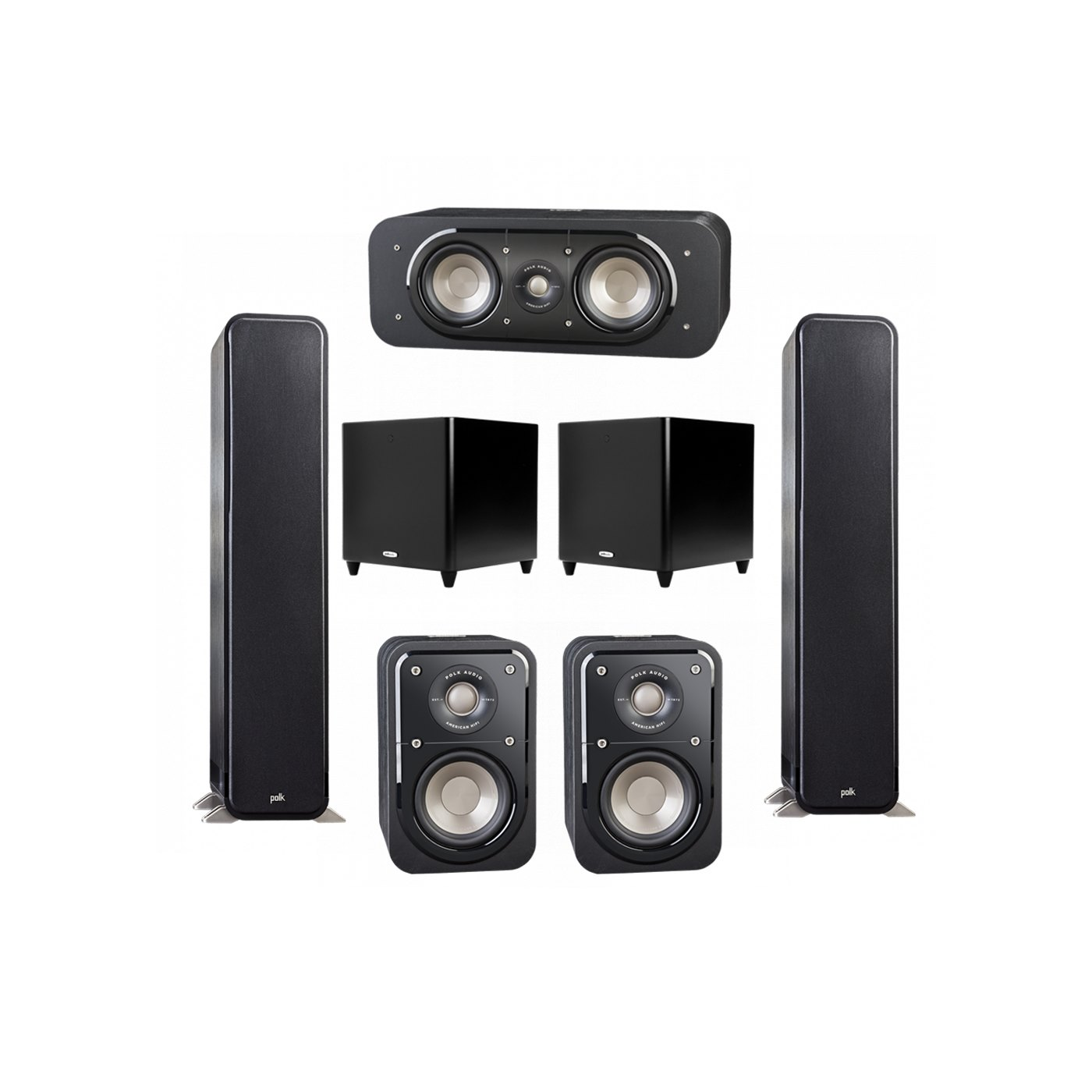 Polk Audio Signature 5.2 System with 2 S55 Tower Speaker, 1 Polk S30 Center Speaker, 2 Polk S10 Surround Speaker, 2 Polk DSW PRO 660 wi Subwoofer