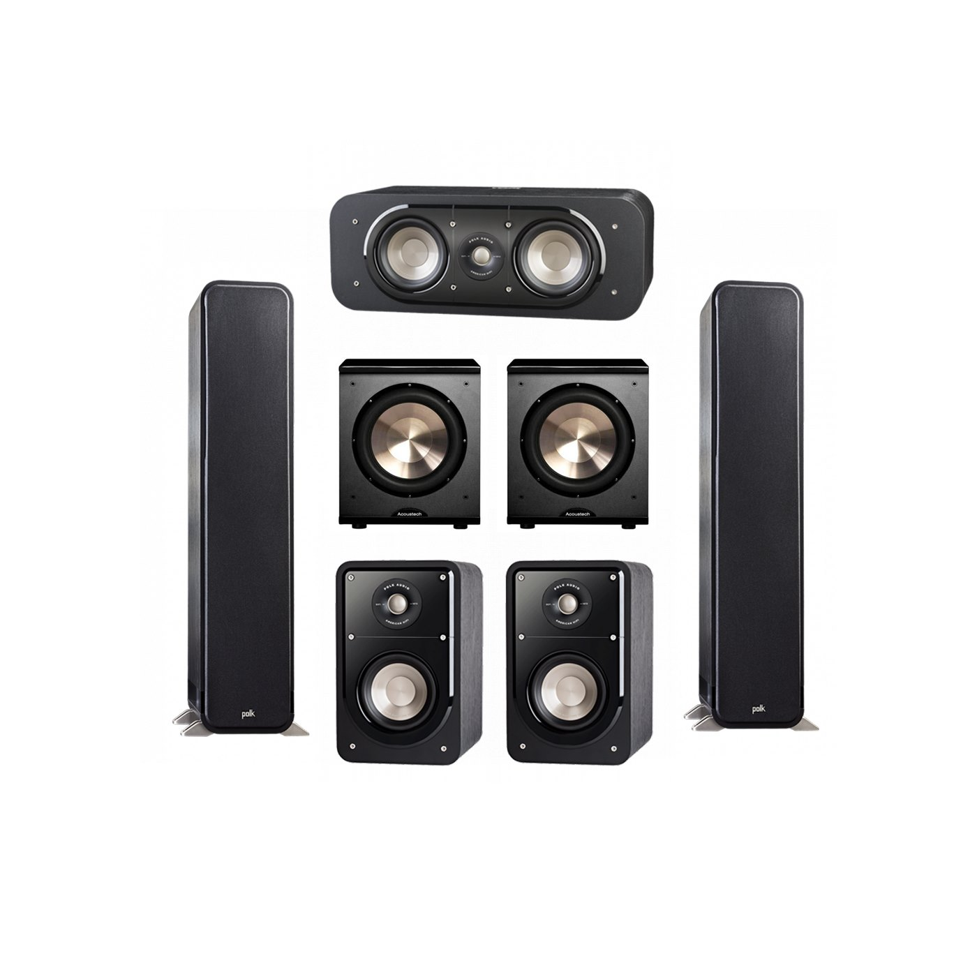 Polk Audio Signature 5.2 System with 2 S55 Tower Speaker, 1 Polk S30 Center Speaker, 2 Polk S15 Bookshelf Speaker, 2 BIC/Acoustech Platinum Series PL-200 Subwoofer