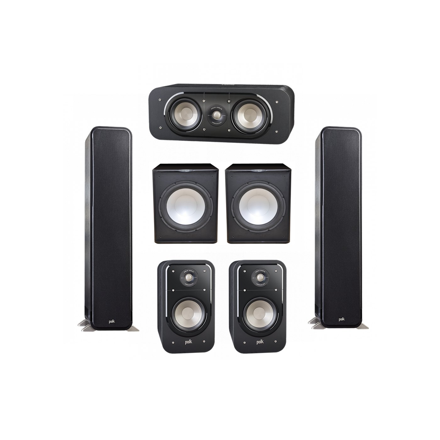 Polk Audio Signature 5.2 System with 2 S55 Tower Speaker, 1 Polk S30 Center Speaker, 2 Polk S20 Bookshelf Speaker, 2 Premier Acoustic PA-150 Powered Subwoofer