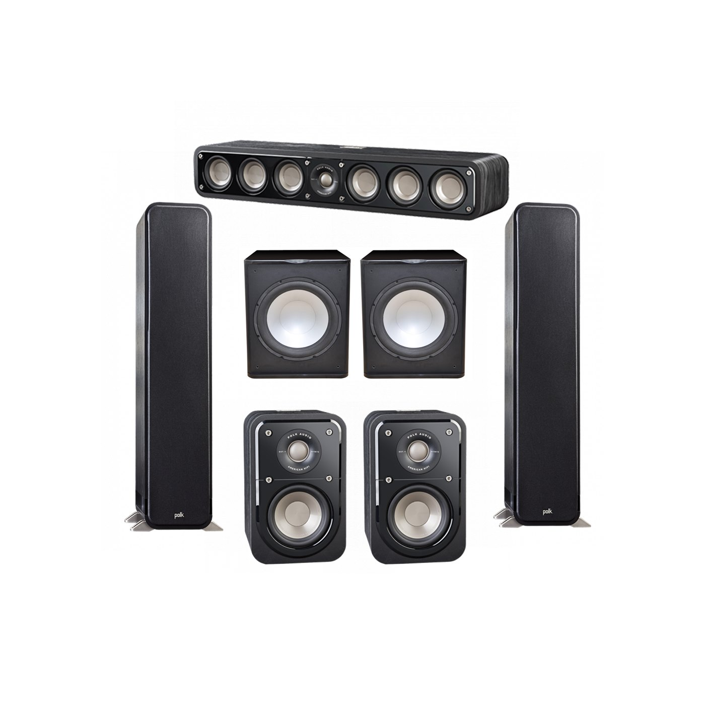 Polk Audio Signature 5.2 System with 2 S55 Tower Speaker, 1 Polk S35 Center Speaker, 2 Polk S10 Surround Speaker, 2 Premier Acoustic PA-150 Powered Subwoofer