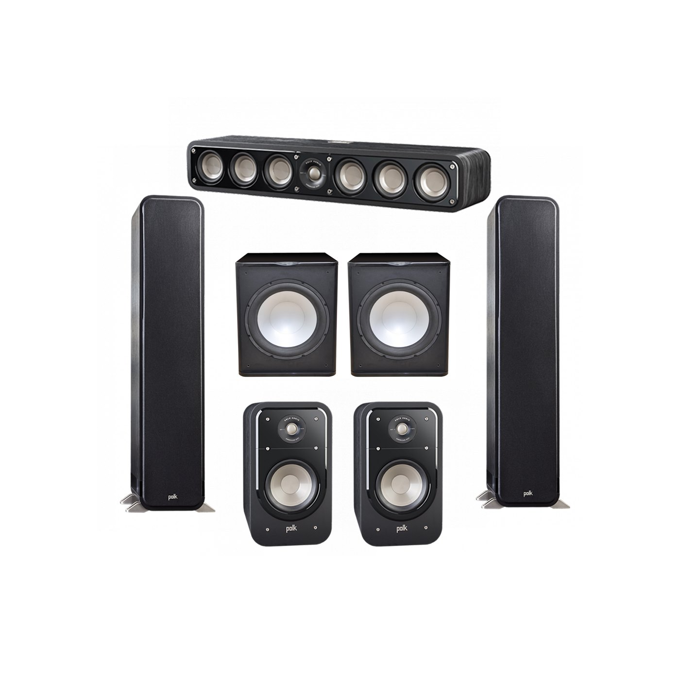 Polk Audio Signature 5.2 System with 2 S55 Tower Speaker, 1 Polk S35 Center Speaker, 2 Polk S20 Bookshelf Speaker, 2 Premier Acoustic PA-150 Powered Subwoofer