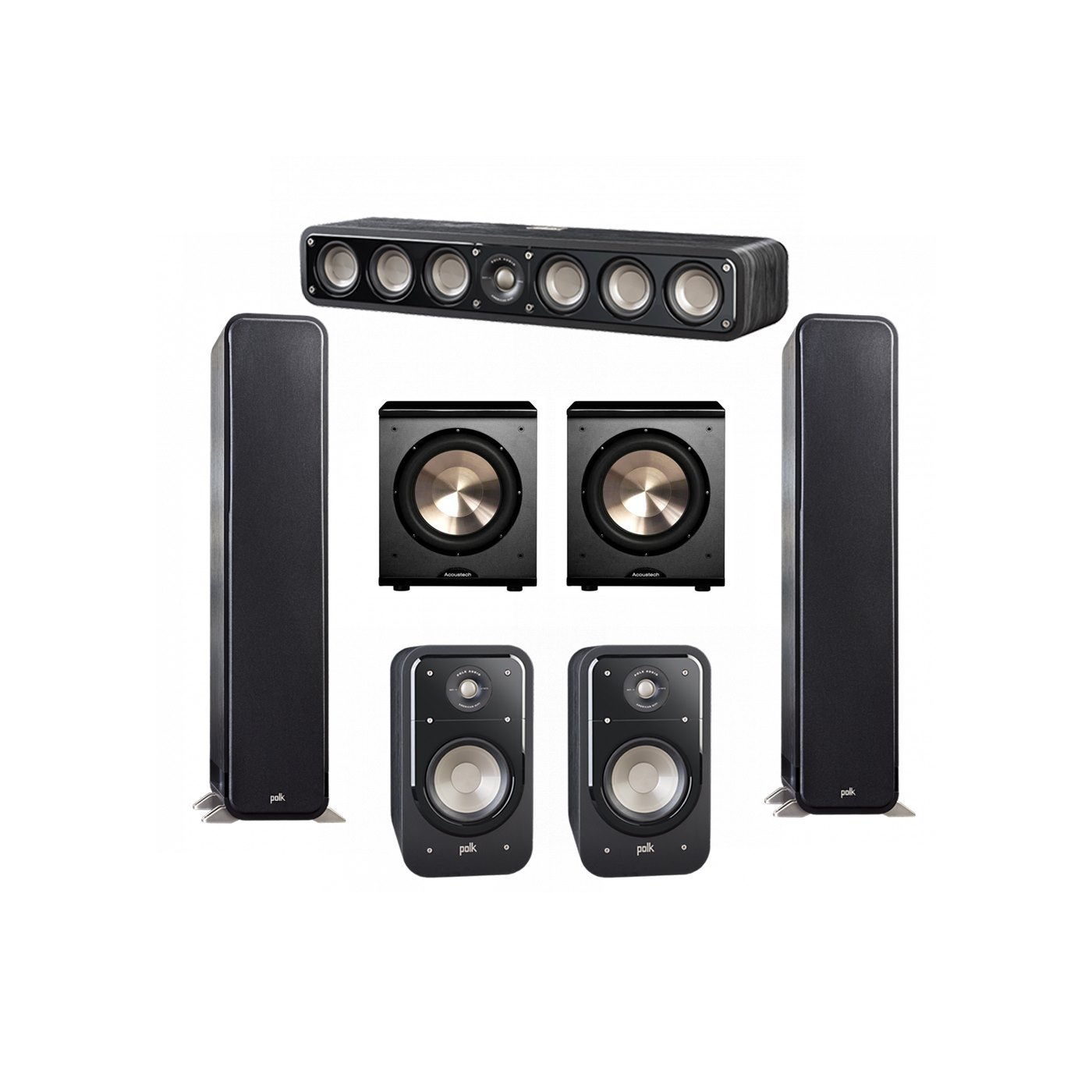 Polk Audio Signature 5.2 System with 2 S55 Tower Speaker, 1 Polk S35 Center Speaker, 2 Polk S20 Bookshelf Speaker, 2 BIC/Acoustech Platinum Series PL-200 Subwoofer