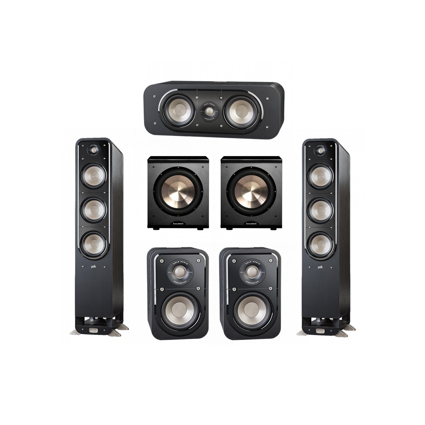 Polk Audio Signature 5.2 System with 2 S60 Tower Speaker, 1 Polk S30 Center Speaker, 2 Polk S10 Surround Speaker, 2 BIC/Acoustech Platinum Series PL-200 Subwoofer