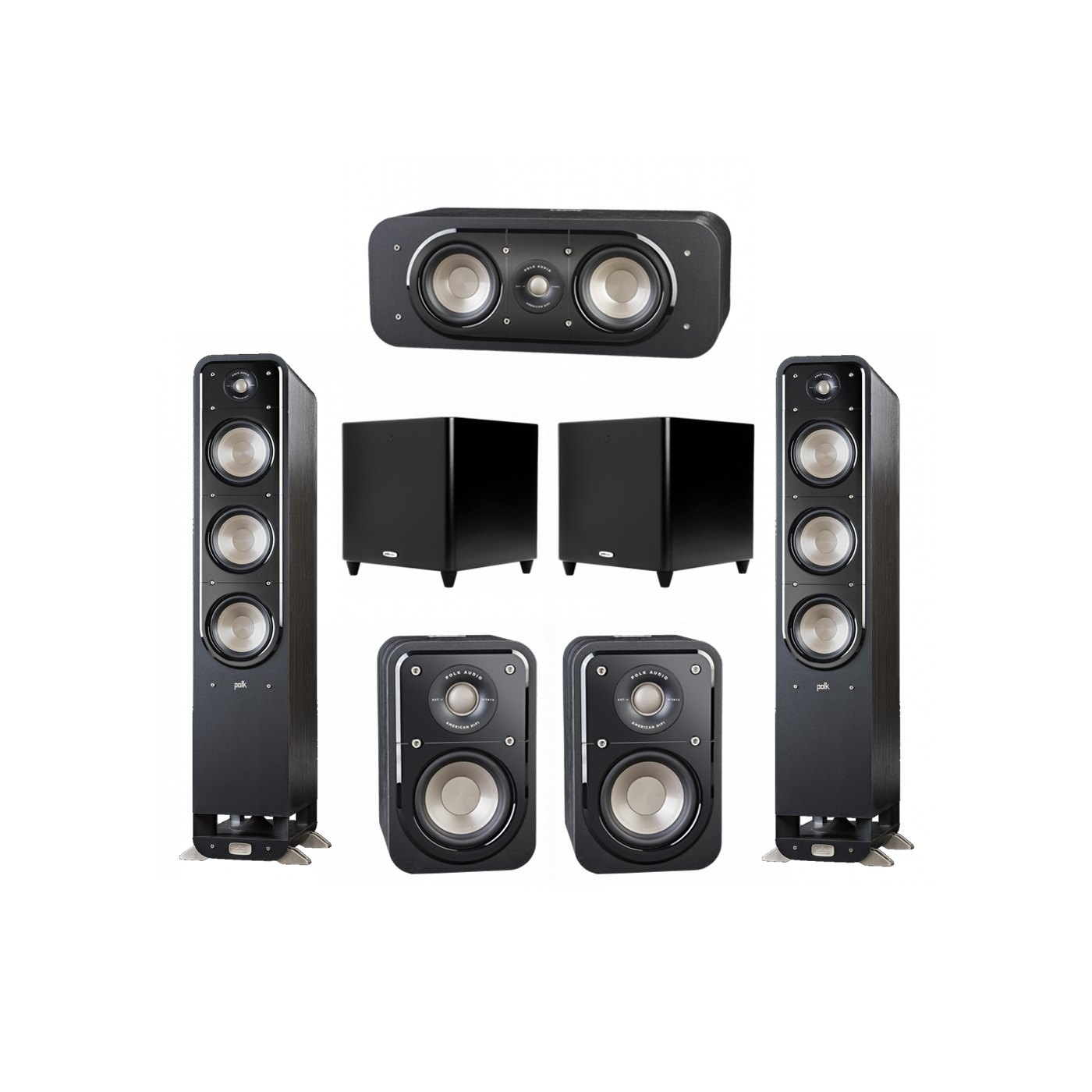 Polk Audio Signature 5.2 System with 2 S60 Tower Speaker, 1 Polk S30 Center Speaker, 2 Polk S10 Surround Speaker, 2 Polk DSW PRO 660 wi Subwoofer
