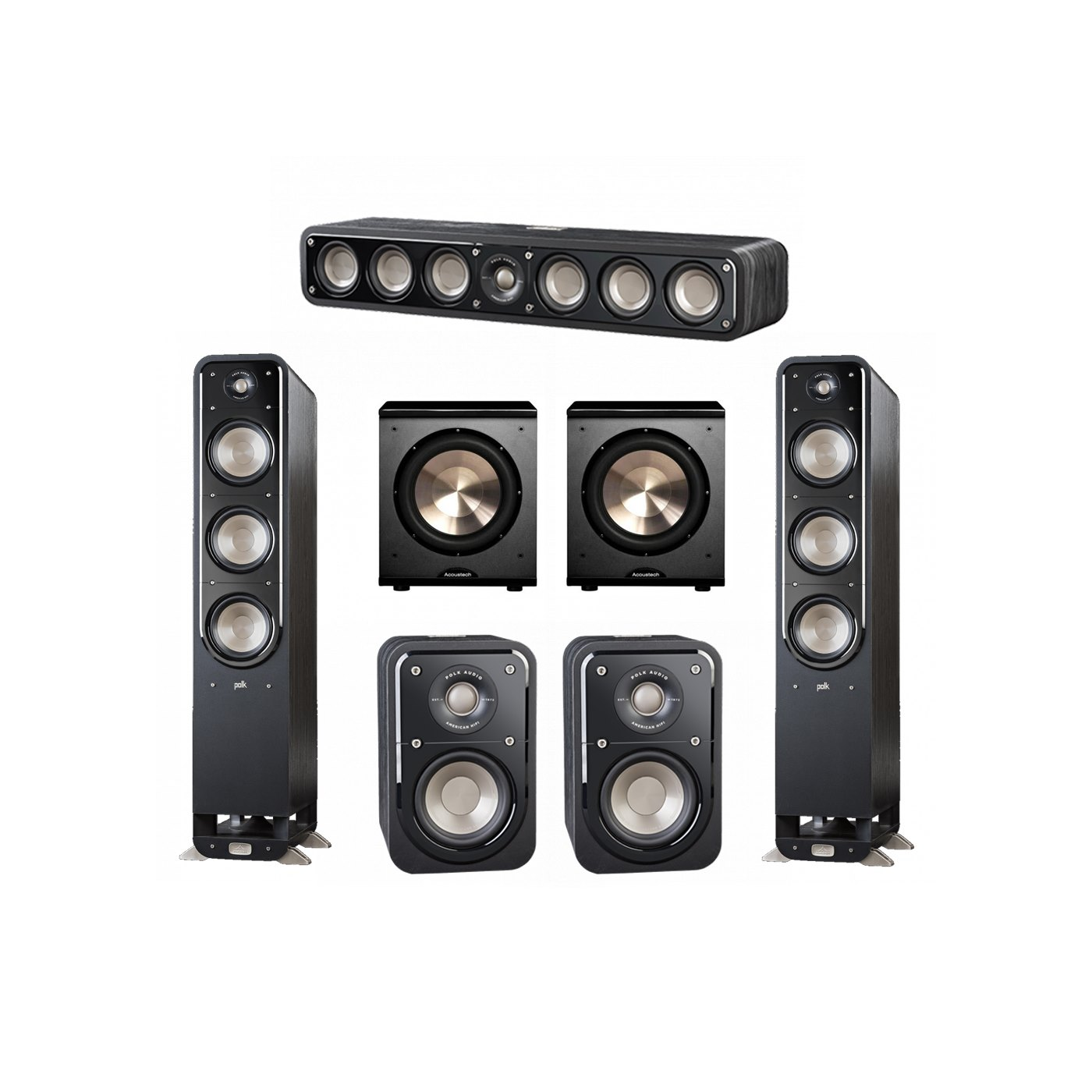 Polk Audio Signature 5.2 System with 2 S60 Tower Speaker, 1 Polk S35 Center Speaker, 2 Polk S10 Surround Speaker, 2 BIC/Acoustech Platinum Series PL-200 Subwoofer