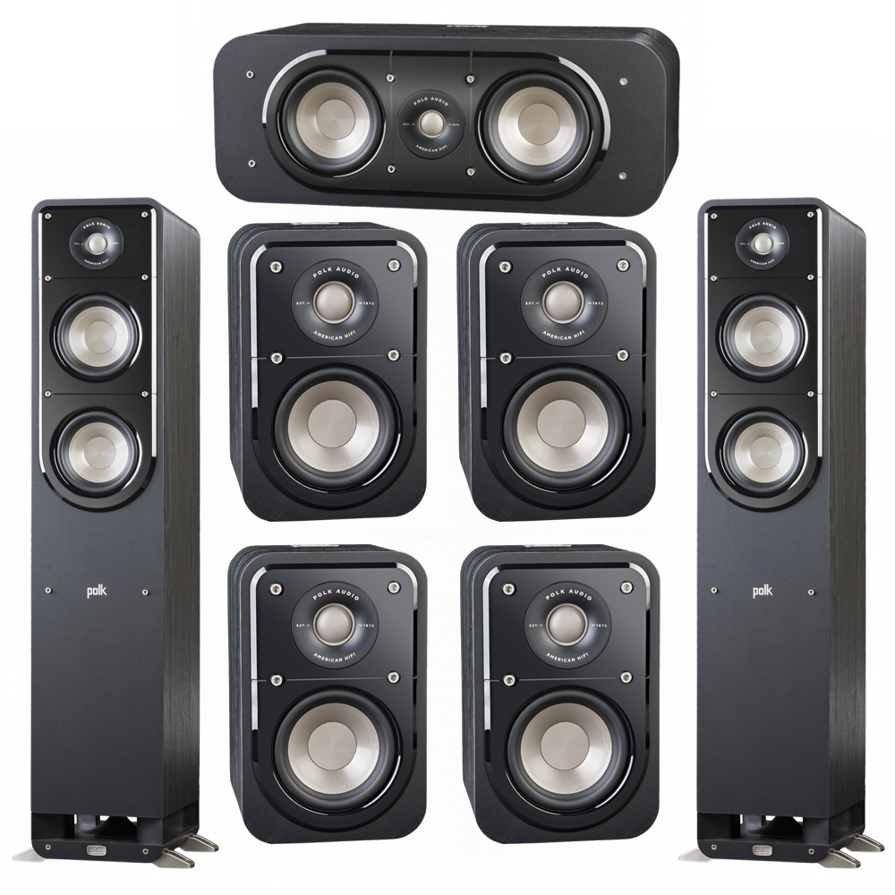 Polk Audio Signature 7.0 System with 2 S50 Tower Speaker, 1 Polk S30 Center Speaker, 4 Polk S10 Surround Speaker