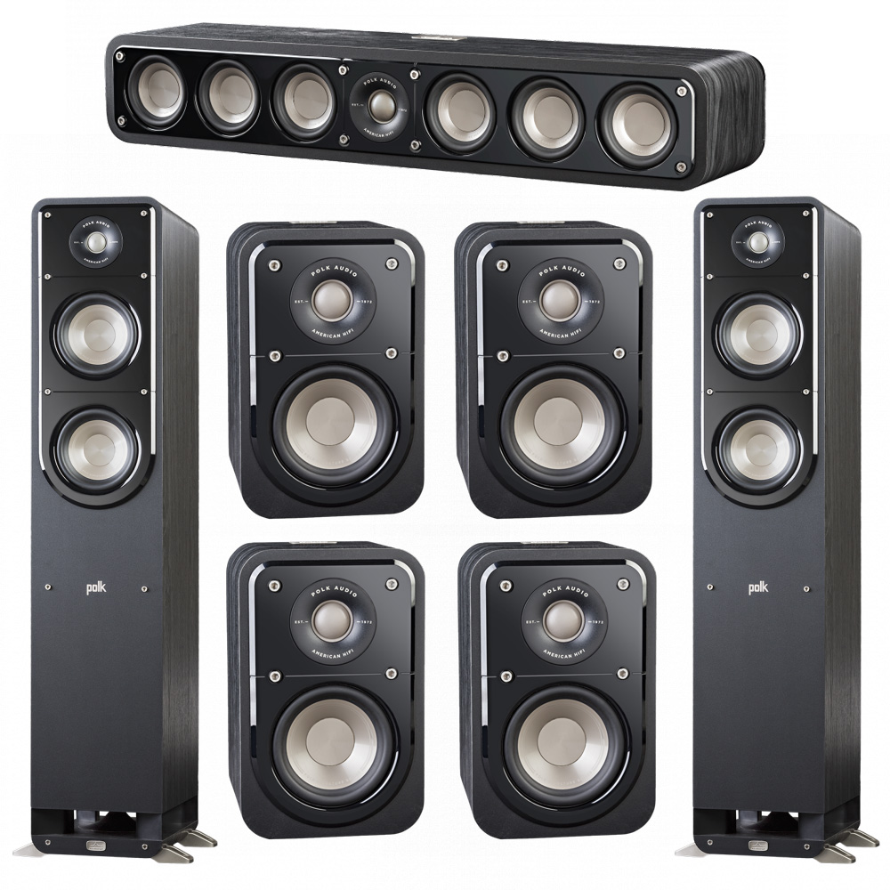 Polk Audio Signature 7.0 System with 2 S50 Tower Speaker, 1 Polk S35 Center Speaker, 4 Polk S10 Surround Speaker
