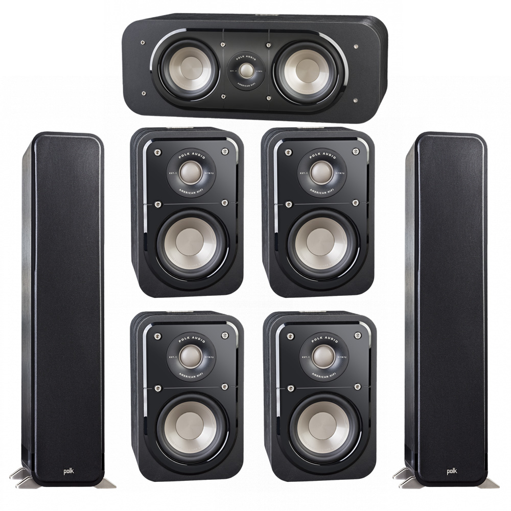 Polk Audio Signature 7.0 System with 2 S55 Tower Speaker, 1 Polk S30 Center Speaker, 4 Polk S10 Surround Speaker