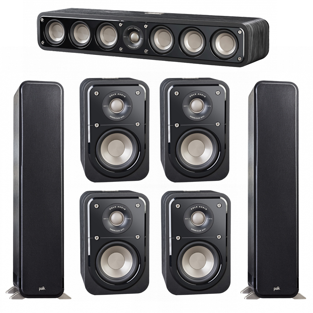 Polk Audio Signature 7.0 System with 2 S55 Tower Speaker, 1 Polk S35 Center Speaker, 4 Polk S10 Surround Speaker