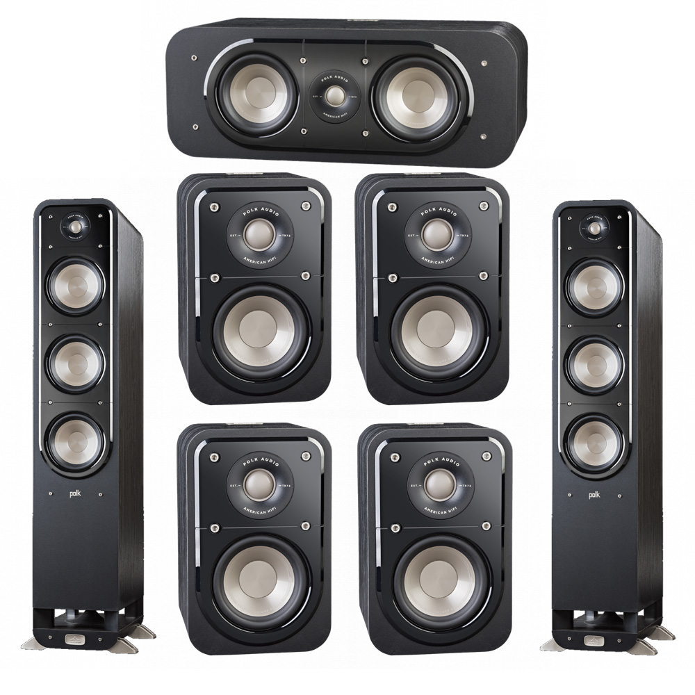 Polk Audio Signature 7.0 System with 2 S60 Tower Speaker, 1 Polk S30 Center Speaker, 4 Polk S10 Surround Speaker