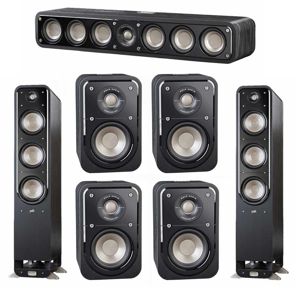Polk Audio Signature 7.0 System with 2 S60 Tower Speaker, 1 Polk S35 Center Speaker, 4 Polk S10 Surround Speaker