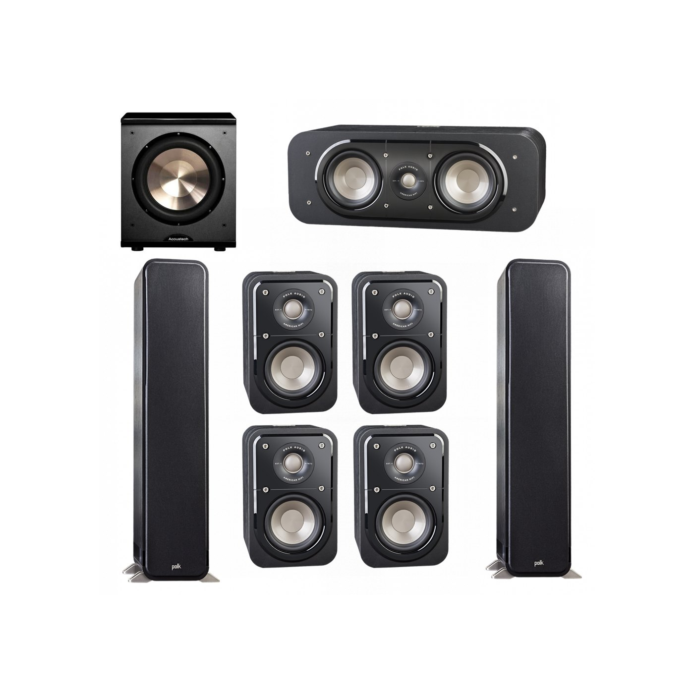 Polk Audio Signature 7.1 System with 2 S55 Tower Speaker, 1 Polk S30 Center Speaker, 4 Polk S10 Bookshelf Speaker, 1 BIC/Acoustech Platinum Series PL-200 Subwoofer