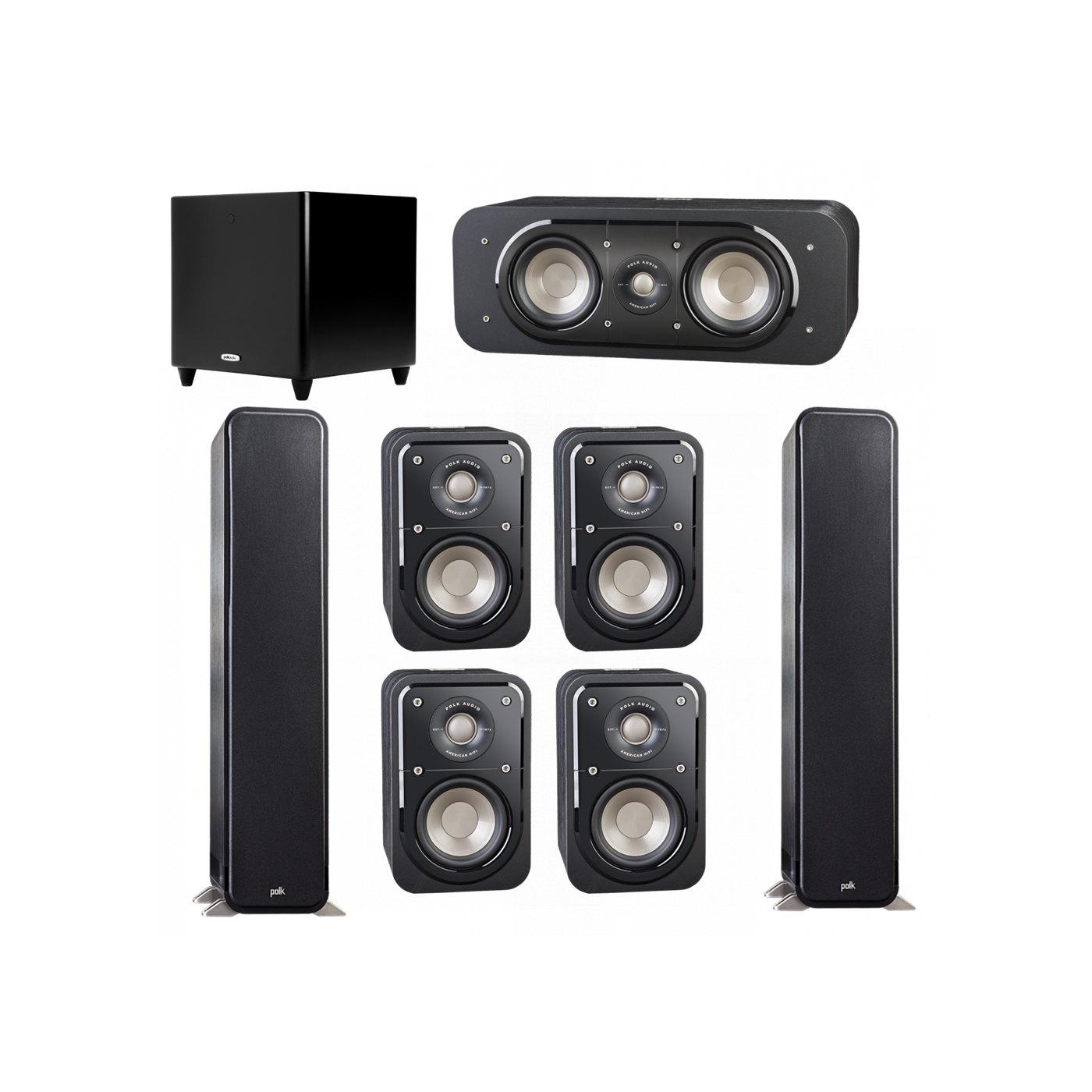 Polk Audio Signature 7.1 System with 2 S55 Tower Speaker, 1 Polk S30 Center Speaker, 4 Polk S10 Bookshelf Speaker, 1 Polk DSW PRO 550 wi Subwoofer