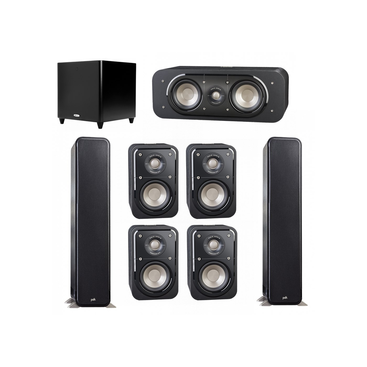 Polk Audio Signature 7.1 System with 2 S55 Tower Speaker, 1 Polk S30 Center Speaker, 4 Polk S10 Bookshelf Speaker, 1 Polk DSW PRO 660 wi Subwoofer