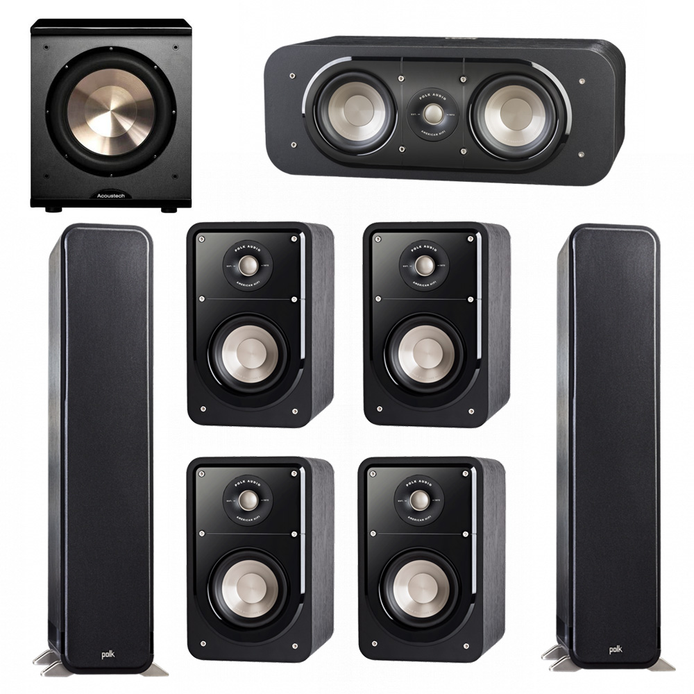Polk Audio Signature 7.1 System with 2 S55 Tower Speaker, 1 Polk S30 Center Speaker, 4 Polk S15 Bookshelf Speaker, 1 BIC/Acoustech Platinum Series PL-200 Subwoofer