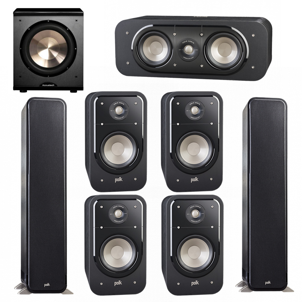 Polk Audio Signature 7.1 System with 2 S55 Tower Speaker, 1 Polk S30 Center Speaker, 4 Polk S20 Bookshelf Speaker, 1 BIC/Acoustech Platinum Series PL-200 Subwoofer