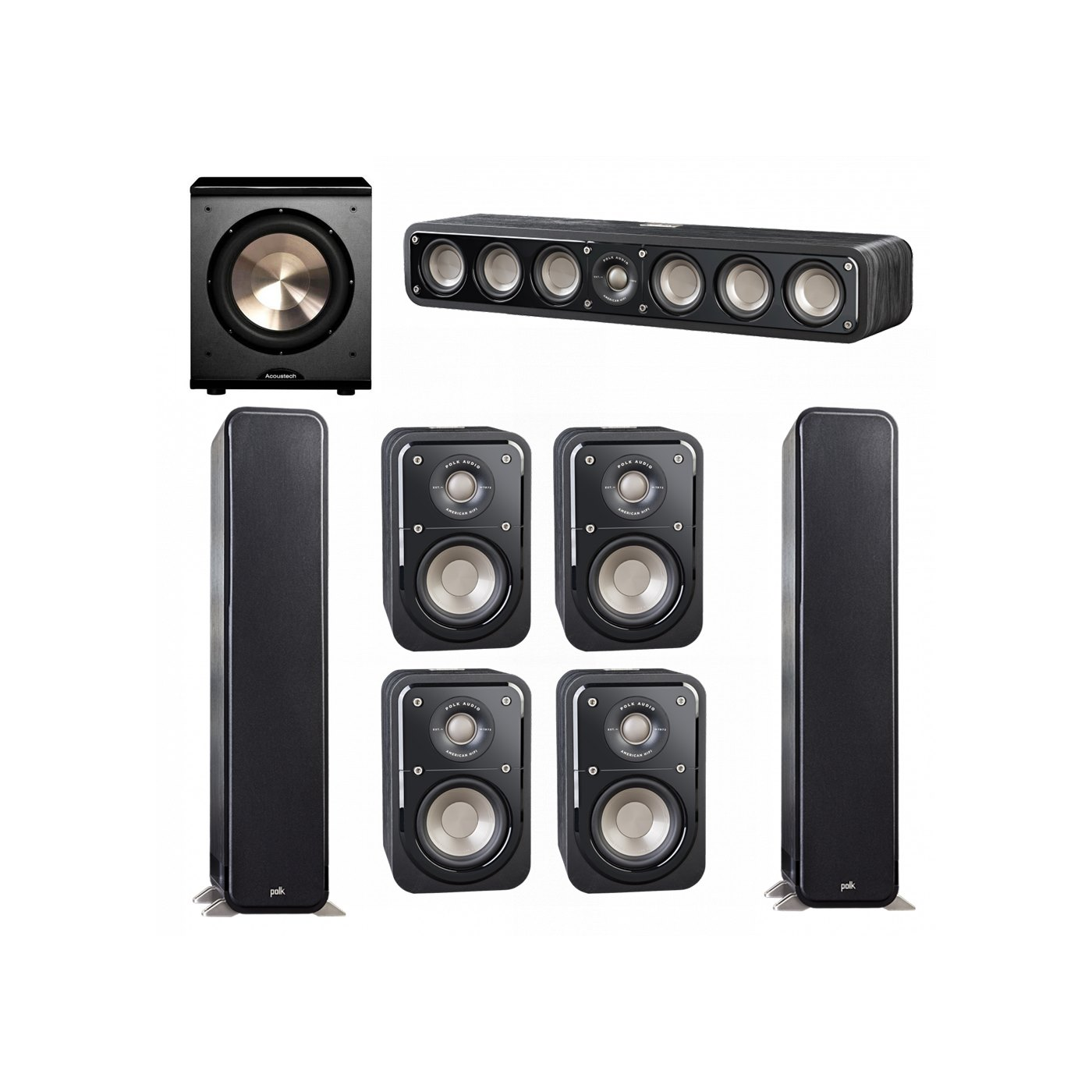 Polk Audio Signature 7.1 System with 2 S55 Tower Speaker, 1 Polk S35 Center Speaker, 4 Polk S10 Bookshelf Speaker, 1 BIC/Acoustech Platinum Series PL-200 Subwoofer