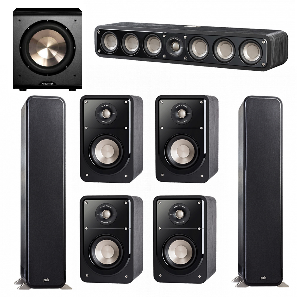 Polk Audio Signature 7.1 System with 2 S55 Tower Speaker, 1 Polk S35 Center Speaker, 4 Polk S15 Bookshelf Speaker, 1 BIC/Acoustech Platinum Series PL-200 Subwoofer