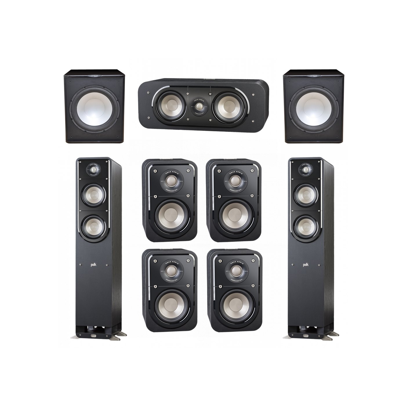 Polk Audio Signature 7.2 System with 2 S50 Tower Speaker, 1 Polk S30 Center Speaker, 4 Polk S10 Bookshelf Speaker, 2 Premier Acoustic PA-150 Powered Subwoofer