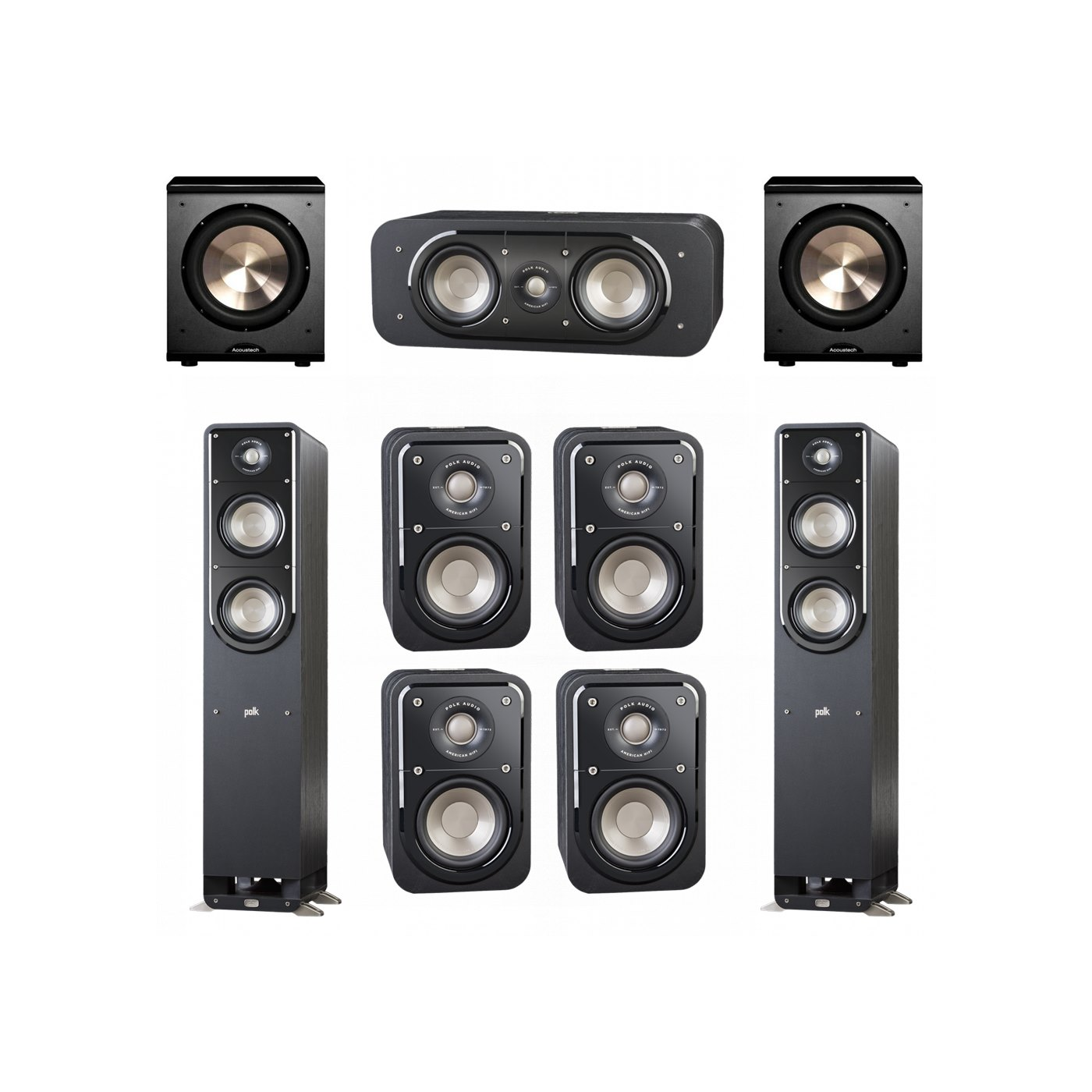 Polk Audio Signature 7.2 System with 2 S50 Tower Speaker, 1 Polk S30 Center Speaker, 4 Polk S10 Bookshelf Speaker, 2 BIC/Acoustech Platinum Series PL-200 Subwoofer